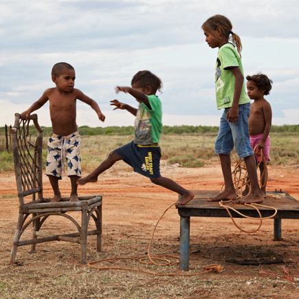 Aboriginal community children playing