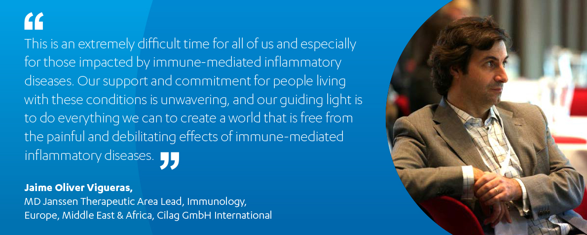 Quote card of Dr. Jaime Oliver Vigueras, Janssen's EMEA Immunology Therapy Area Lead.