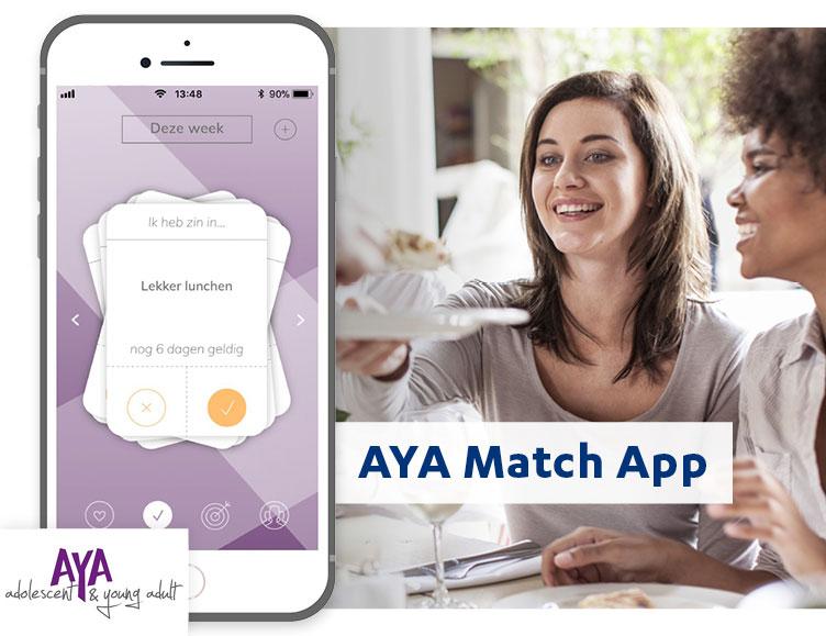 Aya match app, sociale app voor jongeren met kanker