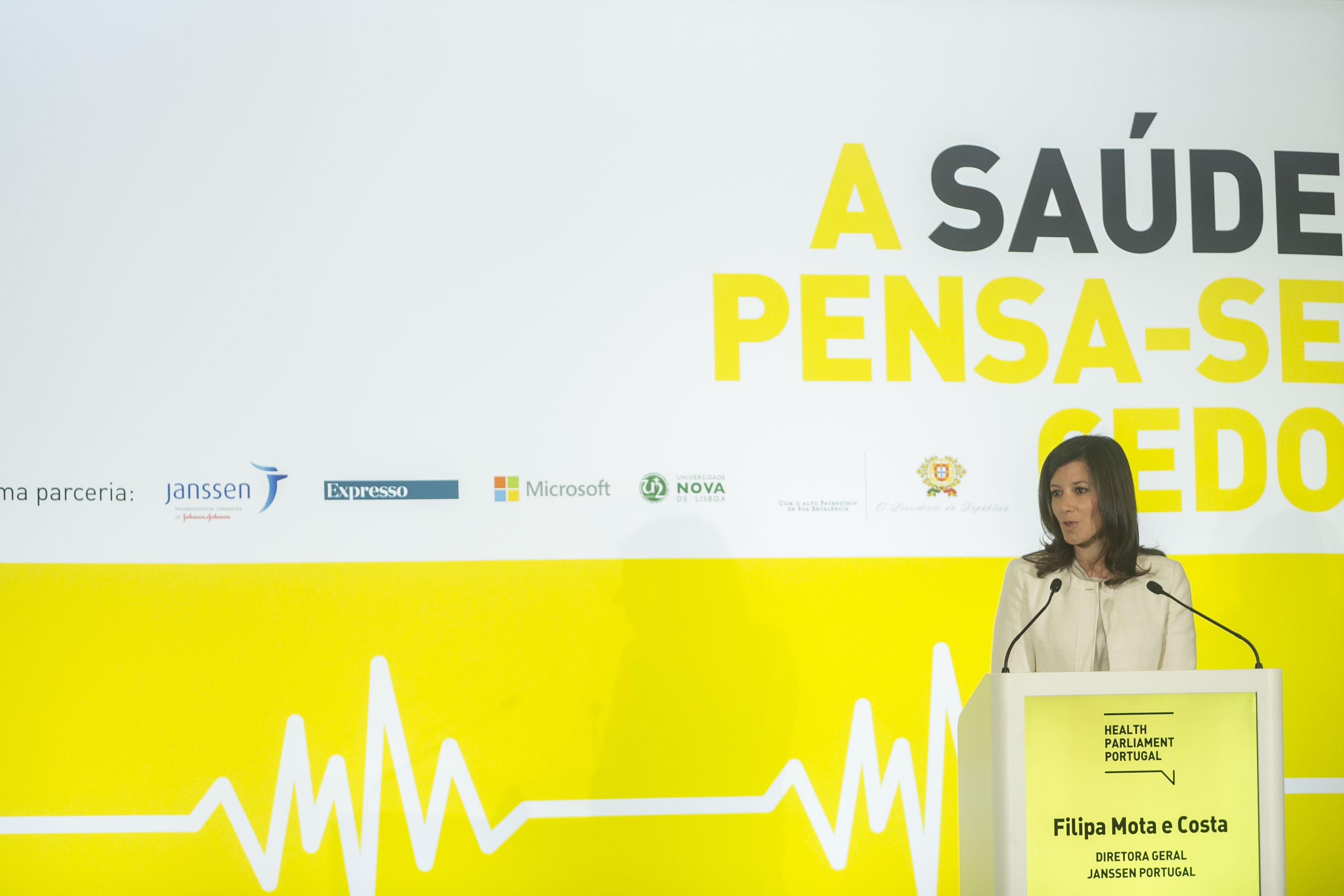 Filipa Costa, diretora-geral da Janssen Portugal, no discurso de abertura.